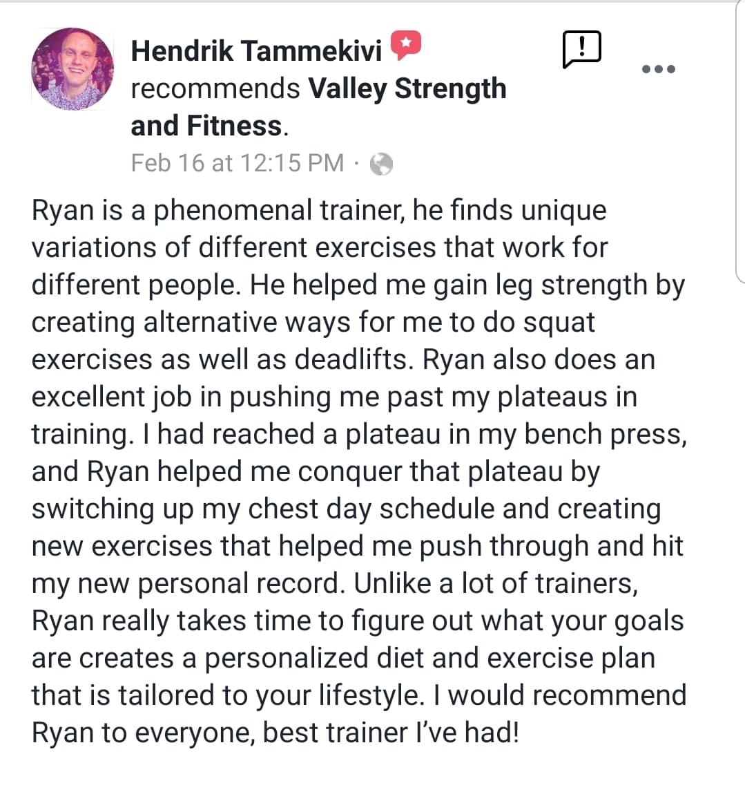 Personal Training - Testimonial Hendrik Review 1